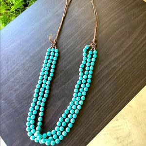 Beautiful turquoise & brown suede necklace